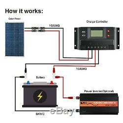 100 Watts 12 Volt Polycrystalline Solar Kit with 30Amp PWM Charge Controller