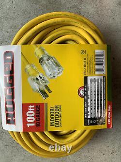 10/3 100ft SJTW Lighted End Extension Cord 15 Amp 300 Volt 1875 Watt (100 feet)