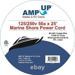 AMP UP 50a 125/250V x 25' Foot Marine Shore Power Boat Cord Yellow volt ft 50 25
