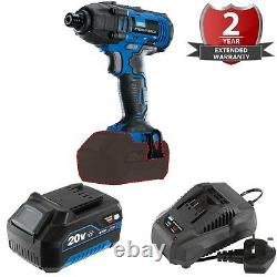 DRAPER 20 Volt Cordless Compact Impact Gun Driver 4 AMP Battery Fast Charger