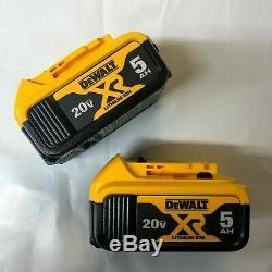 Dewalt 2 Pack DCB205 20 volt Lithium 5.0 amp battery New w fuel gage DCB205-2