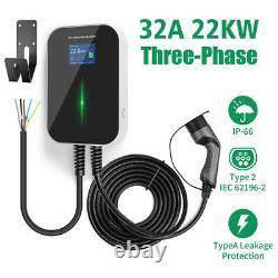 EV Ladestation 32Amp 3 Phase Ladegerät Stecker Mit Typ 2 Stromkabel Wallbox 22KW