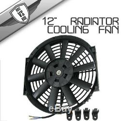 Fit 12 Inch Universal Slim Fan Push Pull Electric Radiator Cooling Fan 12V Black