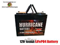Hurricane Battery 12 Volt 100 Amp Hour Lithium Iron Phosphate LiFePO4 Battery