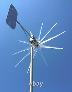 Invisible GHOST Wind turbine HIGH AMP 1100W 10 Clear props WithHP PMA 48 Volt AC