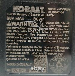 KOBALT NEW 80-Volt 2.5 Ah MAX Li-ion Battery KB2580C-06 Quick Charge 2.5 Amp 80V