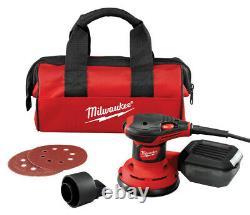 Milwaukee 5in. Corded Random Orbit Palm Sander Kit 3 amps 120 volt 12000 opm Red