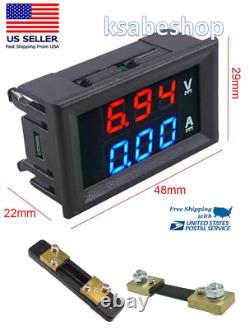 Mini Digital Voltmeter Shunt Ammeter DC 100V 100A LED Display Amp Volt Tester