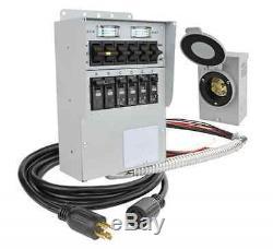 NEW 30-Amp 250-Volt 7500-Watt Non-Fuse 6-Circuit Generator Transfer Switch-Kit