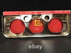 NOS Vintage Stewart Warner USA Chrome 3 Hole Under Dash Gauge Panel 2 1/8 Nice