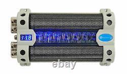 Rockville RFC50F 50 Farad Capacitor Volt Display+Amp Kit Black Wire Mesh Cover