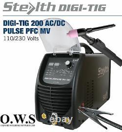 SWP Stealth DIGI-TIG AC/DC 200amp Pulse PFC Dual Volt TIG Welder ACDC Machine