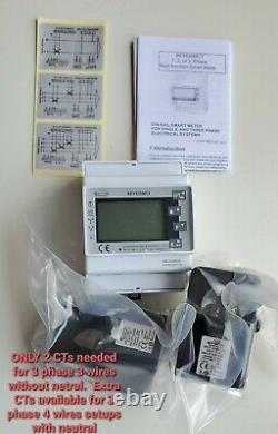 Smart energy meter KWH Volts Amps / Power full analyzer Modbus 2 CTs included
