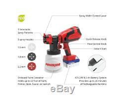 Sun Joe 24V-PS1 24-Volt Amp Cordless HVLP Handheld Paint Sprayer, Kit 4.0ah Batt