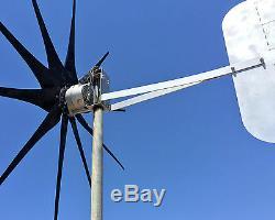 WIND TURBINE GENERATOR 1200 WATTS / 10 blade HIGH AMP Cutter© 12 VOLT DC 2-wire
